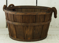 Chestnut Brown Plywood Low Planter at 28cm with Rope Handles