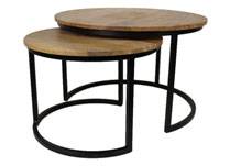 Set of 2 Round Wooden and Metal Coffee Tables
