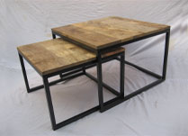 Set of Two Square Wooden Coffee Tables