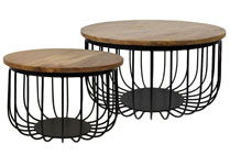 Set of 2 Mango Wood and Wire Coffee Tables