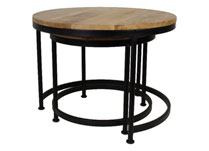Set of Two Mango Wood and Metal Coffee Tables