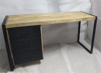 Mango Wood Desk with Three Metal Drawers