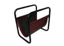 Leather Magazine Rack with Metal Frame