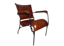 Brown Leather Chair with Metal Legs