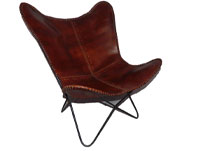 Brown Leather Butterfly Chair