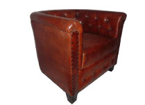 Brown Leather Armchair with Button Detail