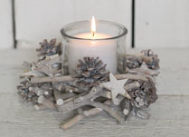 Whitewashed Twig Candle Holder with Pinecones