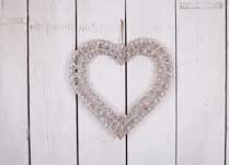 Grey washed hanging willow wrapped heart - Medium