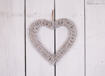 Grey washed hanging willow wrapped heart - Small