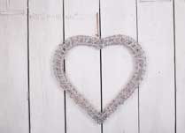 Grey washed hanging willow wrapped heart - Large
