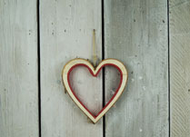 Birch Wood Heart with Red Felt Lining