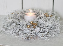 White Twig Candle Holder with Gold Berries