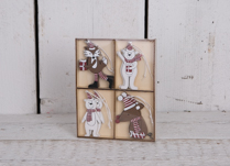 Christmas Fox, 2 different Polar Bears and Mice Decorations. 2 Designs each in a box