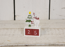 Red Christmas Countdown Wooden Block with Tree and Festive Polar Bear
