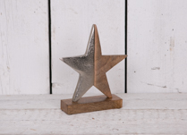 Large Aluminium and Wooden Star on Wooden Base