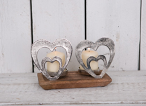 Double Tealight holder with Aluminium Hearts