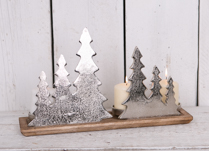 Aluminium Tree Tealight Holder on Wooden Base
