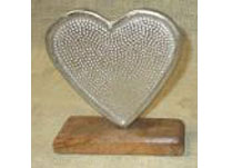 Hammered Aluminium Heart on Wooden Plinth