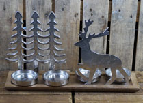 Aluminium Tree and Reindeer Tealight Holder