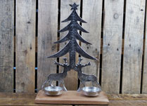 Aluminium Tree, Reindeer and Tealights on Base