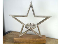 Aluminium Star with Tealight on Base