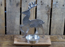 Aluminium Reindeer and Tealight on Wooden Base