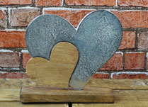 Wood and Aluminium Hearts on Base