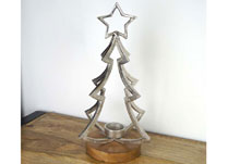 3D Aluminium Tree with Tealight on Base