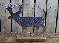 Small Aluminium Stag on Wooden Base