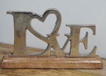 Aluminium LOVE on Wooden Base