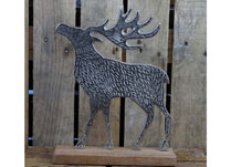 Aluminium Stag on Wooden Plinth