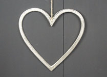 Raw Nickel Finish Heart 20 cm