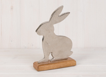 Metal Rabbit on Wooden Plinth