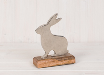 Metal Rabbit on Wooden Base
