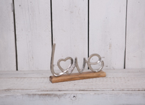 This gorgeous metal LOVE display stand would look anywhere in your home!