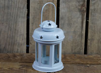 Festive White Lantern with Star Detail
