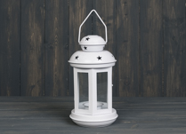 White Lantern with Star Detail 28 cm