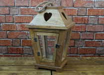 Wooden Lantern with Heart Detail