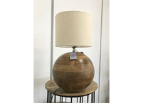 Wooden Table Lamp with Fabric Shade