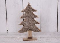 Large Wooden Christmas Tree with Faux Fur