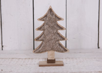 Medium Wooden Christmas Tree with Faux Fur
