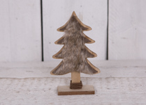 Small Wooden Christmas Tree with Faux Fur