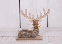 Small Wooden Sitting Reindeer with Faux Fur