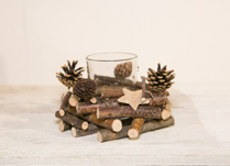 Twig and Pincone Candle Holder