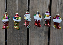 Box of Six Hanging Glass Xmas Stocking Ornaments