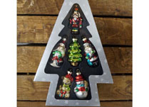 Box of Six Hanging Christmas Glass Ornaments