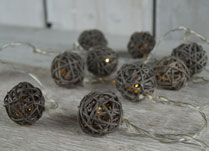 Grey Rattan Bauble LED Lights