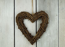 Rustic and Natural Rattan Heart Wreath