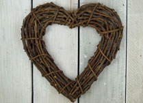 Natural Rattan Heart Wreath