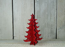 Small Scandinavian Christmas Tree made from Painted Red Wood